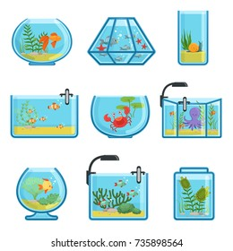 Illustrations set of different aquariums with fishes and saltwater. Underwater world in aquarium with gold fish vector