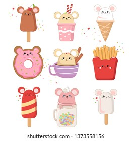 Illustrations set of food in the shape of a cute mouse ice cream. Kawaii mouse 2020 vector isolated on white for greeting card. post card. flayer. print, banner, sticker