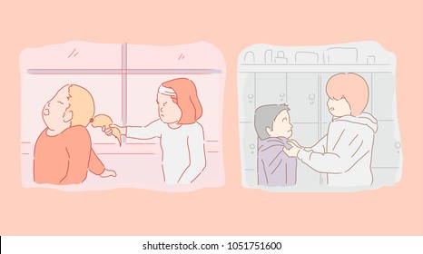 illustrations of several children being persecuted by friend. vector cartoon illustration