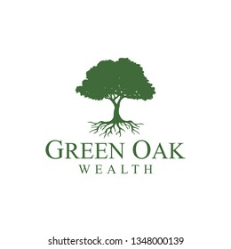 illustrations of shady and green oak trees that continue to grow and develop for financial logo companies.