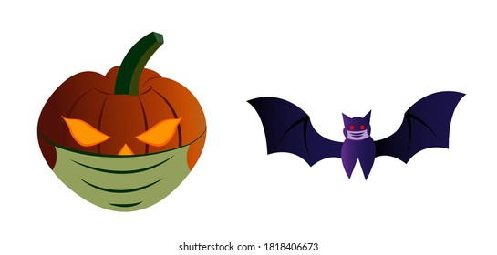 The illustrations shows a pumpkin latern and bat wearing mask to depict the importance of health safety during this crucial period of pandemic.