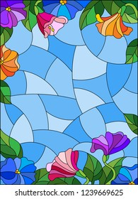 Illustrations in stained glass style with flowers, colorful flowers, leaves and buds on a blue sky background