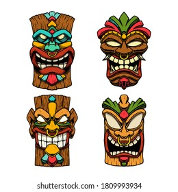 Сет of Illustrations of Tiki tribal wooden mask. Design element for logo, emblem, sign, poster, card, banner. Vector illustration