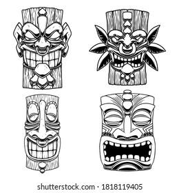 Sет of Illustrations of Tiki tribal wooden mask. Design element for logo, emblem, sign, poster, card, banner. Vector illustration
