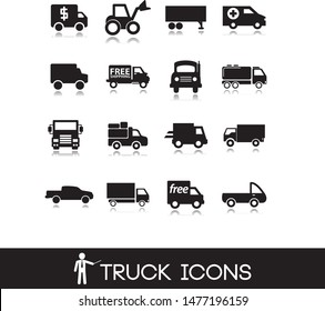 Illustrations of  transport vehicles.Truck icons.