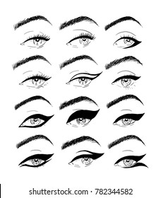 Illustrations using a liner in the makeup of the eyes.