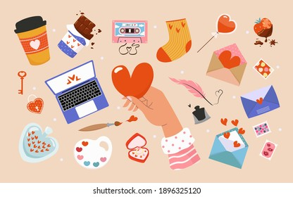 Illustrations for Valentine's Day. Set of vector cute objects and elements for Valentine's Day greeting cards: lollipop, letters, stamps, lock, strawberry, coffee, chocolate, ring. Holiday concept.