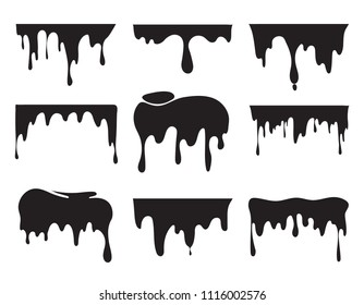 Illustrations of various dripping black paint. Vector pictures of splashes. Ink drip and blob, drop splash, splatter stain
