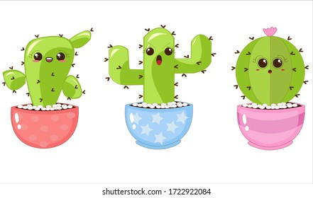 Illustrations Vectors Graphic of Prickly Cactus with Funny Expressions in Colorful Pots