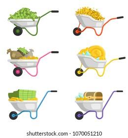 Illustrations of wheelbarrow with money. Vector set