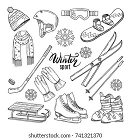 Illustrations of winter sport. Scarf, gloves, ski and others. Winter sport ski and snowboard, helmet and skates vector