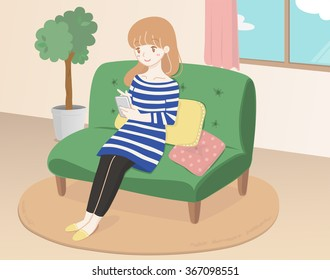Illustrations of women in the room that has a smart phone.