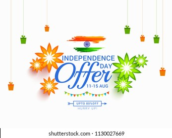 illustration,sale banner or sale poster for indian independence day celebration.