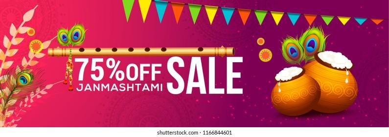 illustration,sale poster or banner for indian festival of janmashtami celebration.