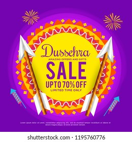 Illustration,Sale Poster Or Sale Banner For Dussehra Celebration.