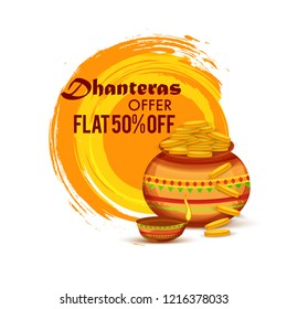 illustration,sale poster or sale banner with golden shiny pot filled with gold coins for indian dhanteras diwali festival  background.