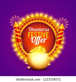 Illustration,sale poster or sale banner for indian dhanteras diwali festival celebration background. Shubh dhanteras.