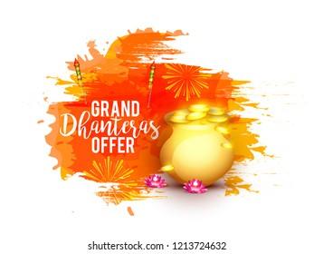 Illustration,sale poster or sale banner for indian dhanteras diwali festival celebration background. Shubh dhanteras.