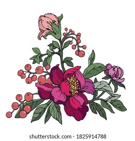 Illustration.Vector graphics.  Bouquet  of flowers.