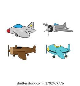 Illustrative design of various cartoon airplane shapes