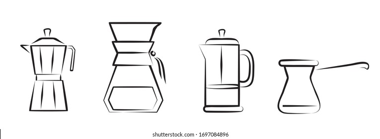 illustrative editorial. Alternative coffee brewing methods illustration set.Hand drawn design elements for cafe menu infographic.