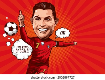 illustrative editorial, Caricature illustration of cristiano ronaldo, Born on February 5,1985, Is an er Portugal footballer currently playing for Juventus - Serie A and the national team as a striker.