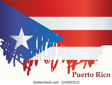 illustrative editorial Flag of Puerto Rico, Commonwealth of Puerto Rico. Template for award design, an official document with the flag of Puerto Rico. Bright, colorful vector illustration.