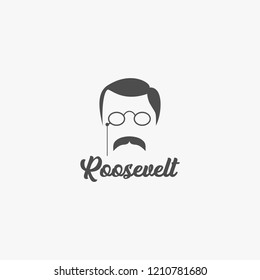 Illustrative editorial portrait of Theodore Roosevelt, 26th President of the United States, vector.
