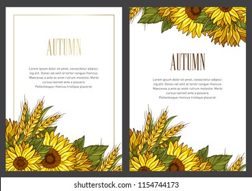 Illustrative invitation card collection with autumn theme. Fall vector set.