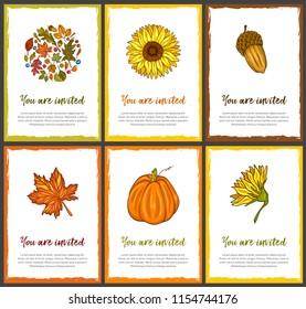 Illustrative invitation card collection with autumn theme. Pumpkin, sun flower, maple leaf, acorn. Fall vector set with grunge frame.
