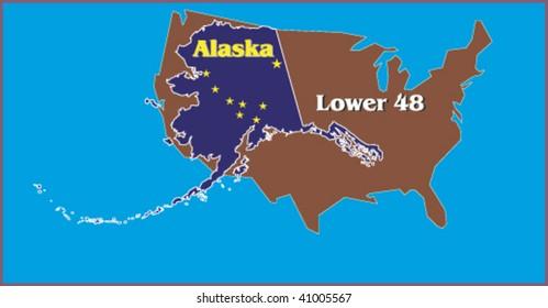 Illustrative map of Alaska overlaid on Contintental U.S. to illustrate surprising size.