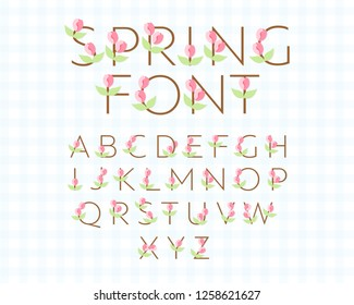 Illustrative vector spring font. Sans serif font with tulip flower decorative elements. Modern typography design for headers of banners, flyers, articles, spring sale signs.