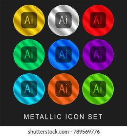 Illustrator 9 color metallic chromium icon or logo set including gold and silver