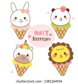 illustrator of Animal icecream collection cartoon, Cute Unicorn Pony Vector, Rabbit Bunny, Panda Bear, Lion Party(Summer Holiday season)- Perfect for kid's greeting card design and Print for t-shirt.