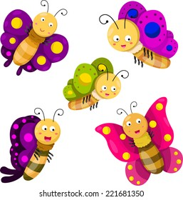 Illustrator of butterfly cartoon set