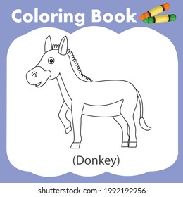 Illustrator of coloring book donkey