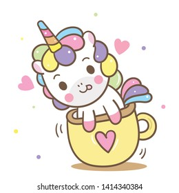 Illustrator of Cute Unicorn vector in mini cup, Kawaii pony cartoon, Nursery decoration, hand drawn isolated on a white background: Fairytale horse- Perfect for kid's greeting card design and Print.