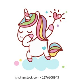 Illustrator of Dabbing Unicorn cartoon (Vector) Valentine day with heart (happy unicorn expressions): series Illustration of cute fairytale pony- card and Print for t-shirt. Romantic hand drawing or i