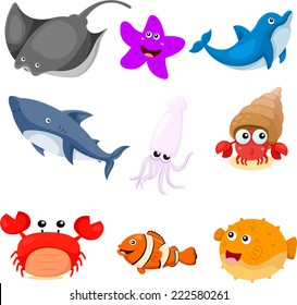 Illustrator of sea animals set