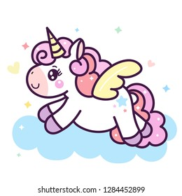 Illustrator of Unicorn cartoon pony horse cartoon Dream pastel color (happy unicorn expressions): series Illustration of cute fairytale pony- card and Print for t-shirt.Romantic hand drawing.