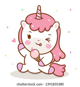 illustrator of Unicorn Vector holding icecream collection cartoon baby animal, Kawaii Character pony cartoon, Summer holiday white background- Perfect for kid's greeting card design and Print.