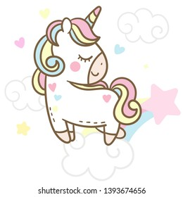 Illustrator of Unicorn Vector jump on the sky with rainbow collection cartoon baby animal, Kawaii Character pony cartoon, Pastel background- Perfect for kid's greeting card design and Print for girl