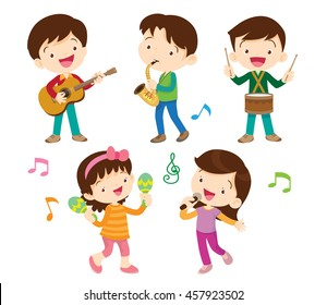 illustrator vector of children group.Cartoon dancing kids and kids with musical instruments.cute child musician various actions playing music.