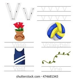 Illustrator of Worksheet for children v font