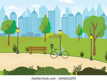 illustrazione di un  parco urbano con panchina, bicicletta e grattacieli