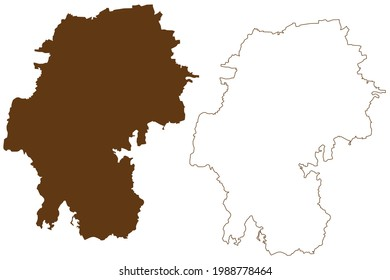 Ilm-Kreis district (Federal Republic of Germany, rural district, Free State of Thuringia) map vector illustration, scribble sketch Ilm Kreis map