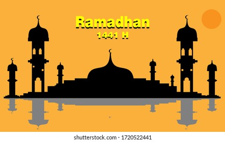 Ilustrasi Vektor Masjid Template Desain Latar Belakang Ramadhan  Perak Hitam, baik untuk proyek ramadhan Anda, promosi banner, informasi islami dan template islam dari ramadhan kareem.EPS10