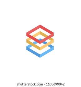 ilustration colorfull box logo concept vector template design