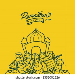 Ilustration Doodle lettering ramadhan kareem, marhaban ya ramadhan, for content greeting banner flyer