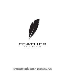 ilustration feather logo template vector